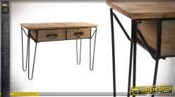 Console moderne de style industriel en bois et métal 114 cm