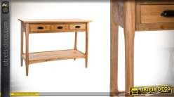 Console en bois de style rustique chalet avec tiroirs 110 cm