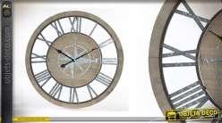 Horloge murale en bois Aux 4 coins du vent Ø70