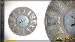 Très grande horloge en bois et métal Ø120 - A l'heure de l'industriel