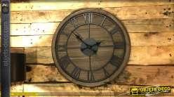 Horloge murale en bois et métal Ø60 - La véritable