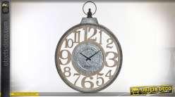 Horloge murale en bois et métal Ø60 - Temps libre