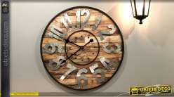 Horloge en bois style palette et métal Ø60 - Querelles entre aiguilles
