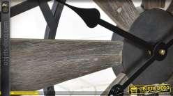 Horloge en bois et métal inspi hélices d'avion Ø60