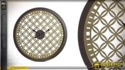 Horloge en bois style Moucharabieh Ø60 - A la mémoire du soleil
