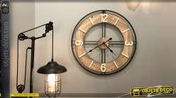 Horloge en bois et métal teintes claires Ø70 - A la bonn'heure