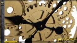 Horloge murale en métal, bois et verre Ø67 - Horlogerie fine