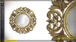 Miroir rond en métal finitions vieu doré Ø60