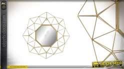 Miroir en métal filaments finitions dorées forme octogonale Ø60