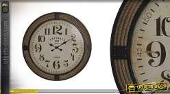 Horloge en bois et cordes finitions vieillies Ø80