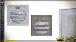 Set de 2 cadres muraux en bois et métal 46x46 cm