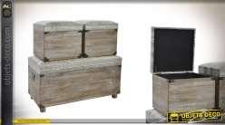 Banquette coffre et 2 poufs carrés en bois et toile - Collection PB