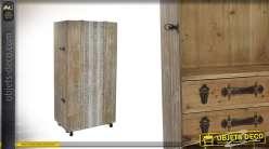Meuble cave à vin en bois effet vieilli 127 cm - Collection PB