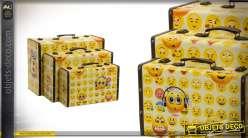 Série de 3 valises de rangement Smiley Style