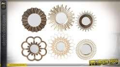 Série de 6 miroirs de tailles et formes différentes en métal