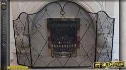Pare-feu de cheminée fer forgé et grillage