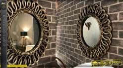 Miroir rond doré cuivré à encadrement effet torsadé ajouré Ø 58 cm
