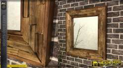 Miroir carré 70 x 70 cm en assemblage de bois recyclé