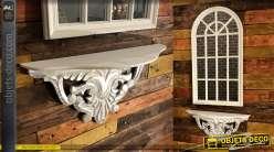 Etagère en console baroque finition blanche aspect vieilli en bois sculpté 60 cm