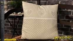 Coussin d'ornementation complet, en coton, style cosy coloris écru et beige