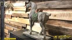 Statuette de cheval de guerre asiatique patine blanche effet vieilli 45 cm