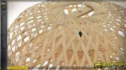 Suspension en bambou tressé de style rétro et exotique Ø 52 cm