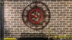 Horloge murale en métal imitation fer forgé déco engrenages Ø 80 cm