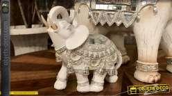 Petite statuette décorative d'éléphant indien blanc et argent