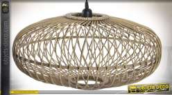 Suspension scandinave ovale en bambou naturel Ø 51 cm