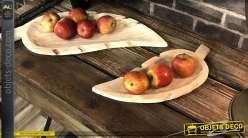 Centre de table en bois naturel clair en forme de feuille d'abre 38 cm