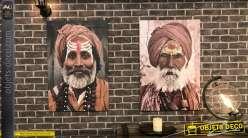 Duo de tableaux sur toile sur le thème de l'Inde : portraits de personnages 90 cm