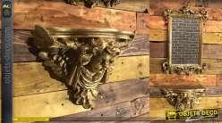 Console murale classique à motif de tête d'ange sculptée finition vieil or 38,5 cm