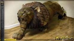 Grande sculpture de lion en tek (modèle droit) 216 cm