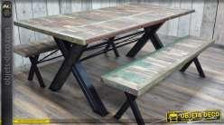 Table bois et métal rétro indus avec ses deux bancs assortis 200 cm