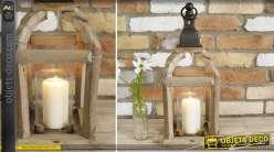 Lanterne décorative de style rustique en bois et métal 50 cm