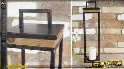Lanterne haute carrée en bois vieilli et métal noir 60 cm
