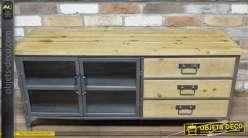 Buffet-bas vitrine de style industriel en bois et métal 2 portes 3 tiroirs
