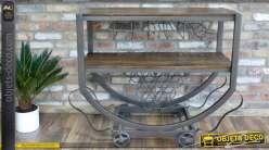 Meuble bar table à double plateaux bois et métal style wagonnet industriel