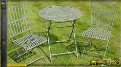 Salon de jardin gris avec deux chaises et table ronde Ø 70 cm