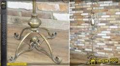Lanterne suspendue sur pied de style rétro finition laiton doré ancien 163 cm