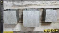 Série de 3 jardinières murales métal finition zinc ancien forme cubique