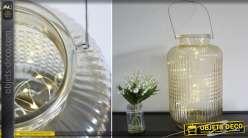 Vase / lanterne en verre ouvragé avec éclairage LED 60 cm