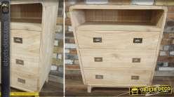 Commode à 3 tiroirs en bois naturel clair style vintage