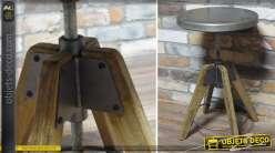 Tabouret en bois et métal réglable de style industriel 57 cm