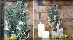 Sapin de Noël avec pot décoratif et statuette de cerf 35 cm