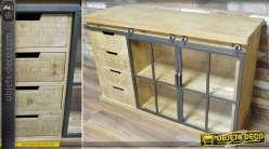 Buffet vitrine bois massif naturel et métal 2 portes 4 tiroirs