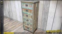 Grand chiffonnier à 6 tiroirs en bois recyclé patines variées et vieillies 135 cm