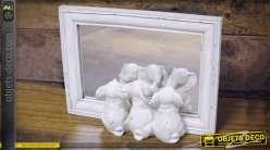 Miroir de table blanc avec 3 statuettes d'éléphanteaux 21 cm