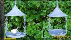Abreuvoir suspendu pour oiseaux en métal gris vieilli 35 cm