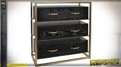 Commode design noir et or en bois et métal avec 3 tiroirs